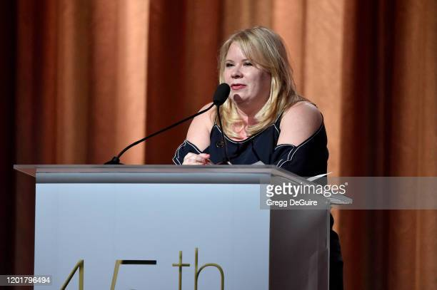 Julie Plec speaks onstage at The 45th Annual HUMANITAS Prize at The Beverly Hilton Hotel on January 24 2020 in Beverly Hills California