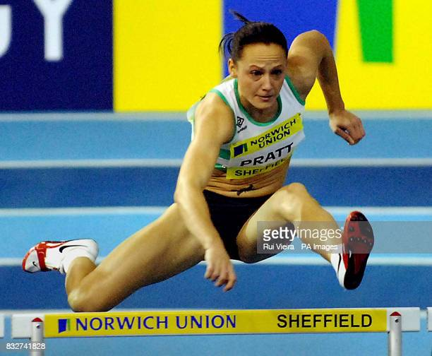 Julie Pratt of Woodford G Essex during the the 60m Hurdle at the Norwich Union European Athletics Trials and UK Championships at Hallam FM Arena...