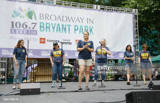 Julie Reibner Sharon Wheatley Astrid Van Wieren Pearl Sun and Petrina Bromley of 'Come From Away' perform during 1067 LITE FM Broadway in Bryant Park...