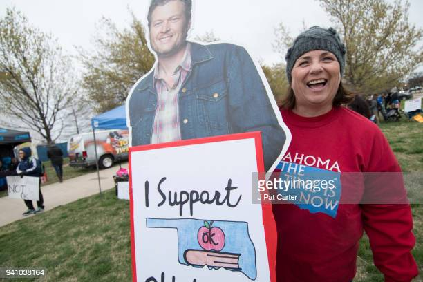 Julie Riffel who teaches in Mustang Oklahoma brought her life size Blake Shleton cut off to the rally at the state capitol on April 2 2018 in...