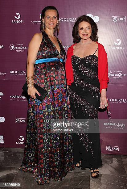 Julie Riotte and Christiane Magnani attend the Miss France 2012 gala night at the Hotel Camino Real on November 10 2011 in Mexico City Mexico