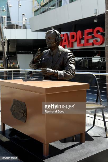 Julie Rottblatt Amrany and Omri Amrany's statue of former Los Angeles Lakers playbyplay announcer Chick Hern sits in Star Plaza at Staples Center...
