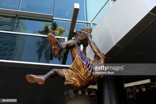 Julie Rottblatt Amrany and Omri Amrany's statue of former Los Angeles Lakers basketball player Shaquille O'Neal hangs in Star Plaza at Staples Center...