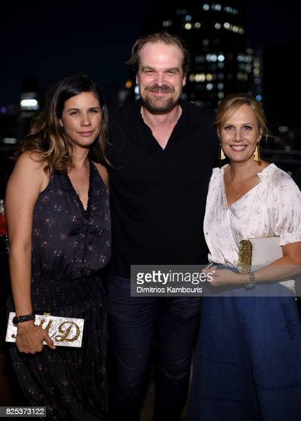 Julie Rudd David Harbour and Naomi Scott attend the 'Fun Mom Dinner' After Party at The Jimmy at the James Hotel on August 1 2017 in New York City