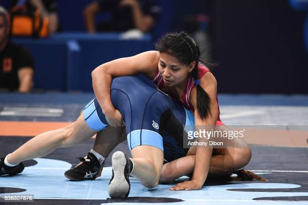 Julie Sabatie 48kg and Thalia Jihann Malqui Peche 48 kg during the female wrestling competition during the Paris 2017 Women's World Championships at...