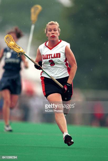 Julie Shank of the University of Maryland runs upfield with the ball during the 2001 NCAA Photos via Getty Images Women's Division I Lacrosse...