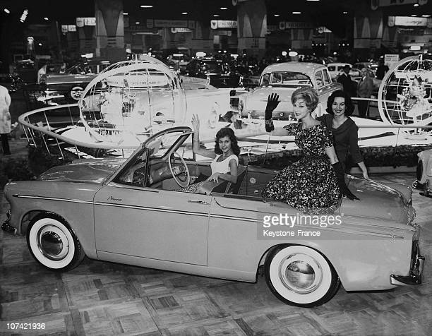 Julie Shearing Betty Phillipson Carol Jackson Seated In The New Hillman Minx During Motor Show At Earls Court In England On October 20Th 1959