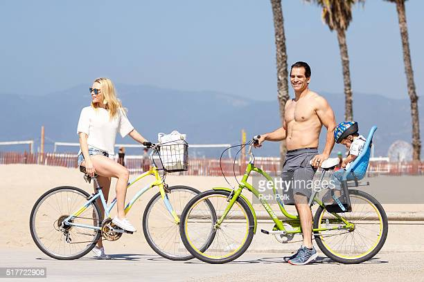 Julie Solomon actor Johnathon Schaech and their son Camden Quinn Schaech spend the day at the beach on March 26 2016 in Santa Monica California