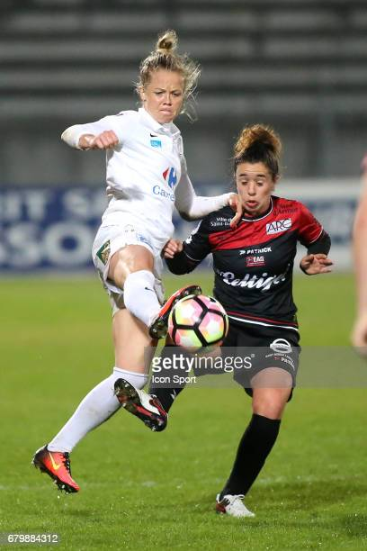 Julie Soyer and Margaux Bueno during the Women's Division 1 match between Juvisy and Guingamp on May 6, 2017 in Evry, France.