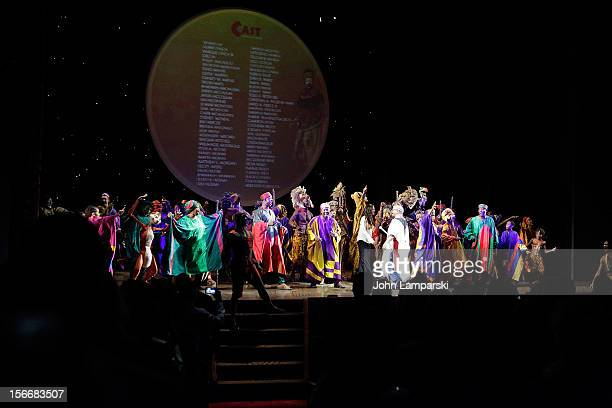 Julie Taymor and cast of Lion King attend the 'The Lion King' On Broadway 15th Anniversary Celebration at the Minskoff Theatre on November 18 2012 in...