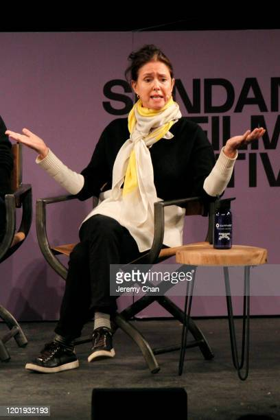 Julie Taymor speaks on stage at the 2020 Sundance Film Festival Power Of Story Just Art Panel at Egyptian Theatre on January 25 2020 in Park City Utah