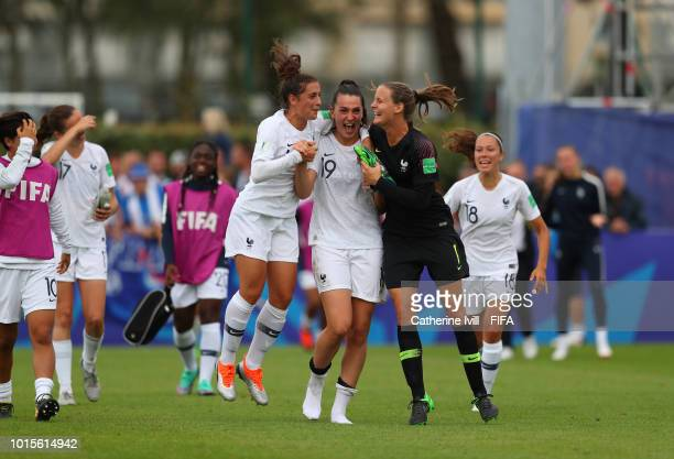 Julie Thibaud Amelie Delabre and Mylene Chavas of France celebrate after the FIFA U20 Women's World Cup France 2018 group A match between Netherlands...