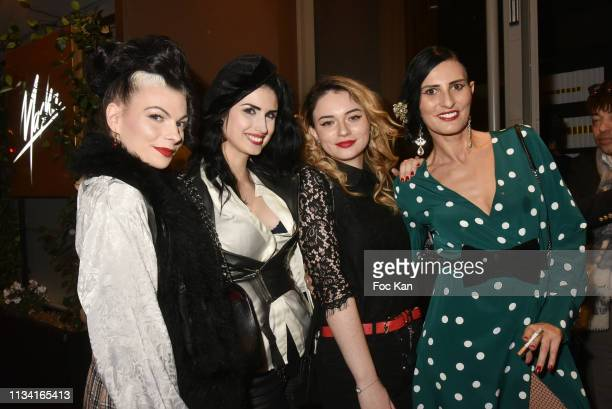 Julie Von Trash Elsa Oesinger Ilona B and her aunt Sylvie Ortega Munos attend 'Femmes Fatales ' Mathieu Alterman Book Launch Party at Masha Club on...