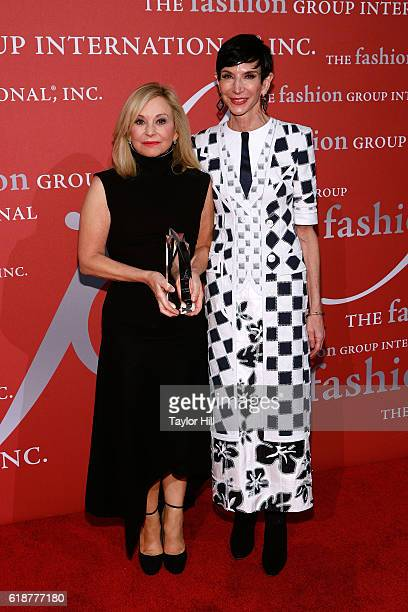 Julie Wainwright and Amy Fine Collins attend Fashion Group International's 2016 Night of Stars at Cipriani Wall Street on October 27, 2016 in New...