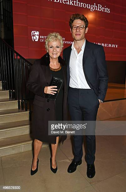 Julie Walters and James Norton attend the BAFTA Breakthrough Brits reception in partnership with Burberry at 121 Regent Street on November 10 2015 in...