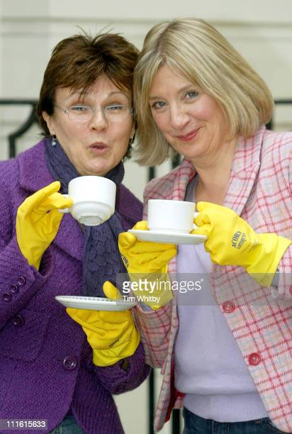 Julie Walters and Victoria Wood during Acorn Antiques The Musical Photocall at Theatre Royal in London Great Britain