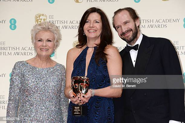 Julie Walters Christine Langan accepting the Outstanding Contribution To Cinema Award on behalf of BBC Films and Ralph Fiennes pose in the winners...