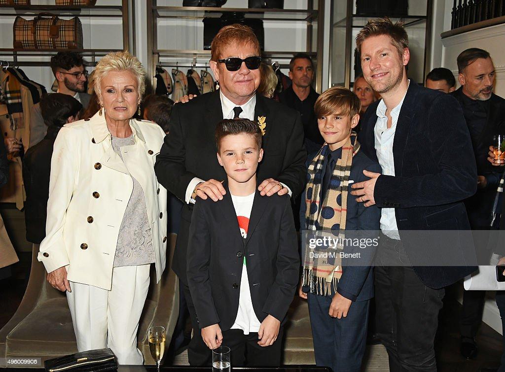 Julie Walters, Sir Elton John, Cruz Beckham, Romeo Beckham and Christopher Bailey attend the Burberry Festive film premiere at 121 Regent Street on November 3, 2015 in London, England.