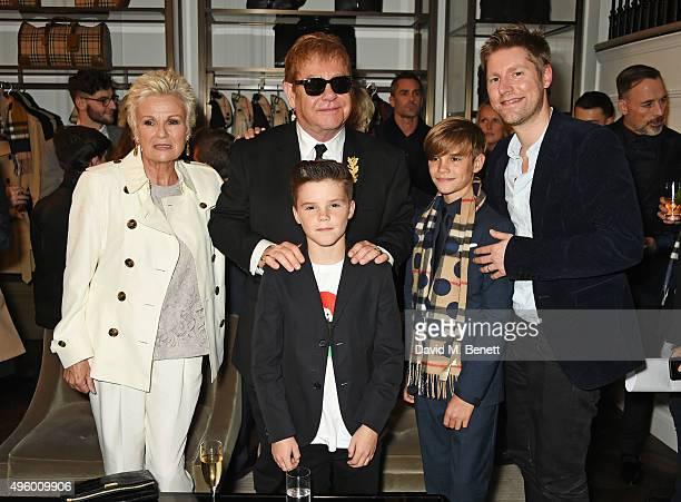 Julie Walters, Sir Elton John, Cruz Beckham, Romeo Beckham and Christopher Bailey attend the Burberry Festive film premiere at 121 Regent Street on...