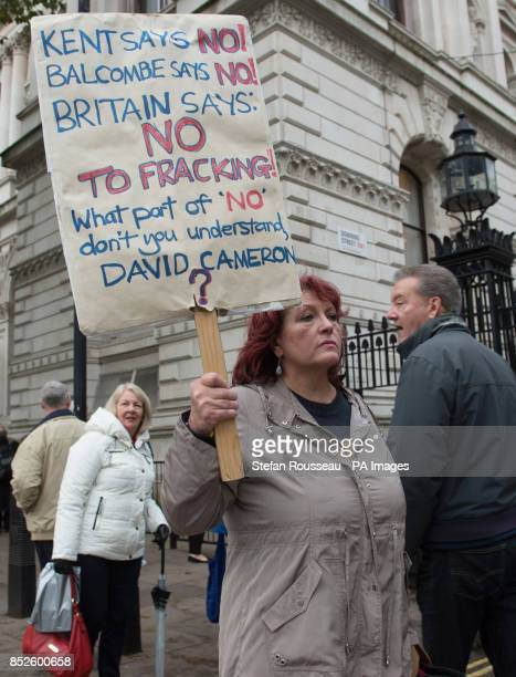 Julie Wassmer Vice Chair of East Kent Against Fracking delivers an open letter to 10 Downing Street in London calling for the government to...