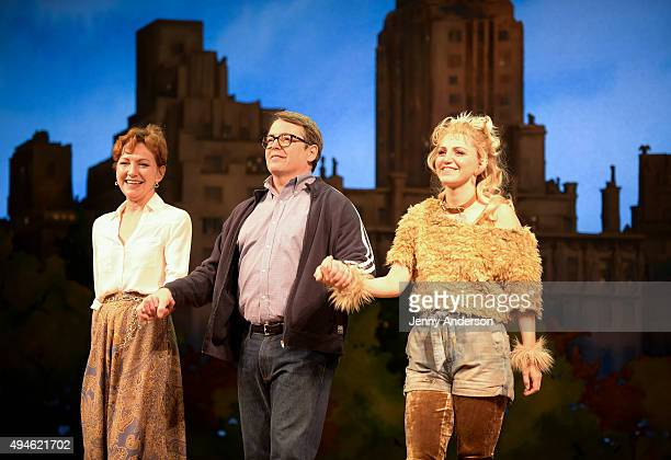 Julie White Matthew Broderick and Annaleigh Ashford bow during 'Sylvia' Opening Night on Broadway at Cort Theatre on October 27 2015 in New York City