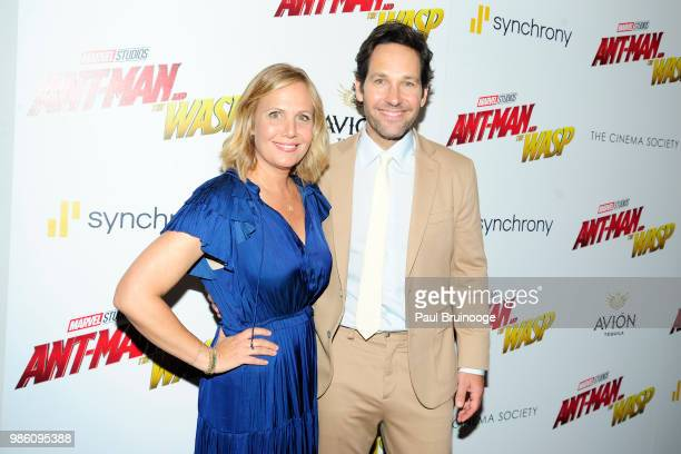 """Julie Yaeger and Paul Rudd attend The Cinema Society With Synchrony And Avion Host A Screening Of Marvel Studios' """"Ant-Man And The Wasp"""" at The..."""