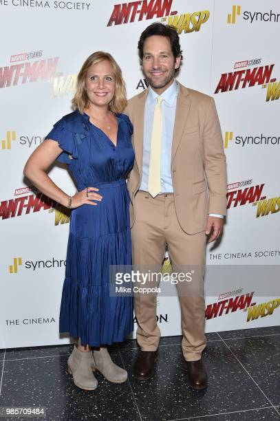 Julie Yaeger and Paul Rudd attend the screening of Marvel Studios' AntMan and The Wasp hosted by The Cinema Society with Synchrony and Avion at...