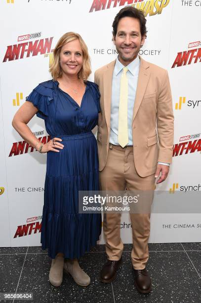 Julie Yaeger and Paul Rudd attends the AntMan And The Wasp New York Screening at Museum of Modern Art on June 27 2018 in New York City