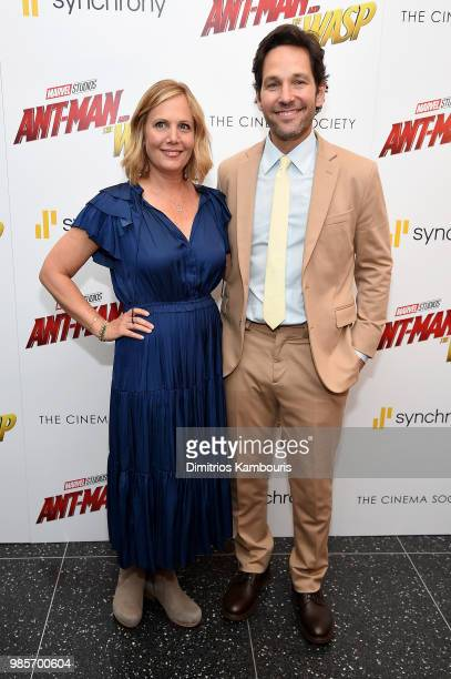 """Julie Yaeger and Paul Rudd attends the """"Ant-Man And The Wasp"""" New York Screening at Museum of Modern Art on June 27, 2018 in New York City."""
