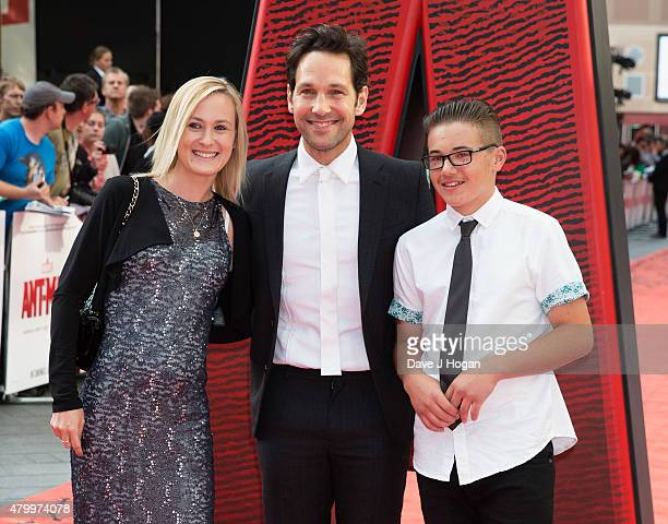 Julie Yaeger Paul Rudd and Jack Sullivan attend the European premiere of Marvel's AntMan at Odeon Leicester Square on July 8 2015 in London England