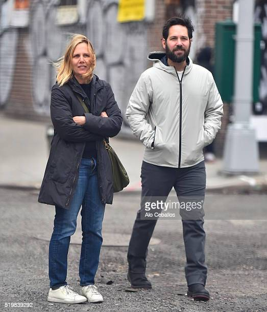 Julie Yaeger Paul Rudd are seen in Soho on April 8 2016 in New York City