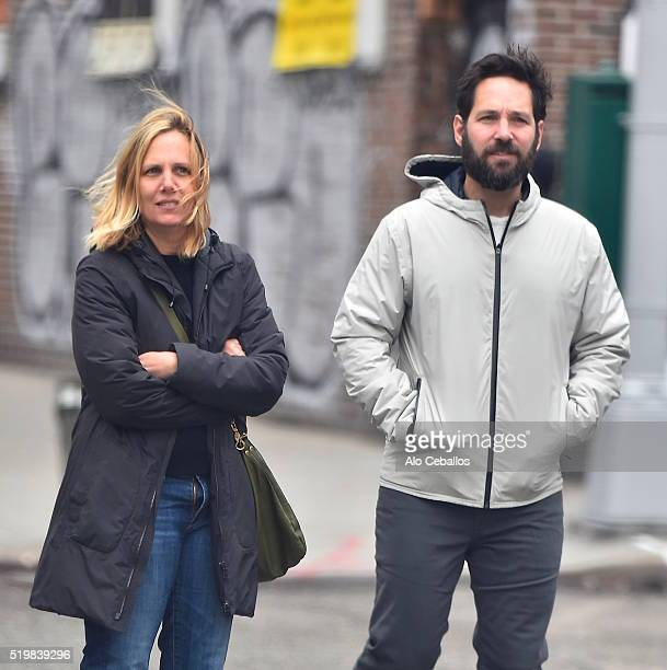 Julie Yaeger, Paul Rudd are seen in Soho on April 8, 2016 in New York City.