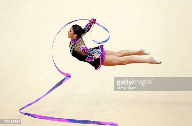 Julie Zetlin of the United States competes during the Rythmic Gymnastics Individual AllAround competition on Day 14 of the London 2012 Olympic Games...