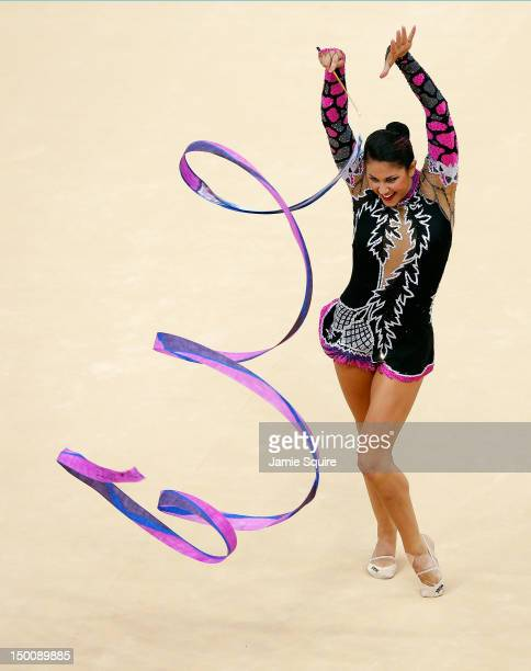Julie Zetlin of the United States competes during the Rythmic Gymnastics Individual All-Around competition on Day 14 of the London 2012 Olympic Games...