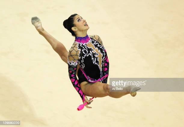 Julie Zetlin of the United States performs with the clubs at the Rhythmic Gymnastic finals during Day Four of the XVI Pan American Games at the...