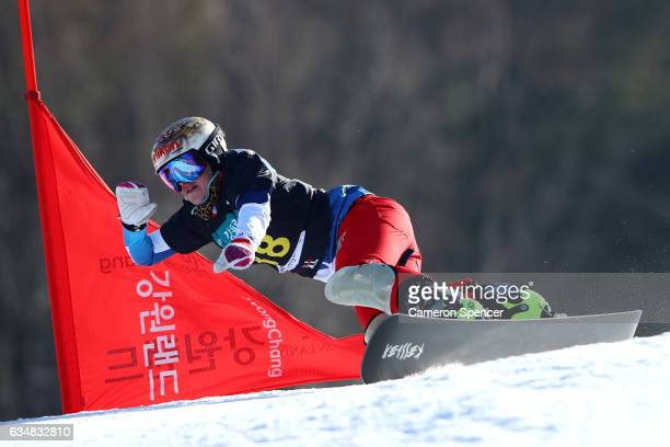 Julie Zogg of Switzerland competes in the FIS Freestyle World Cup Parallel Giant Slalom Ladies Final at Bokwang Snow Park on February 12 2017 in...