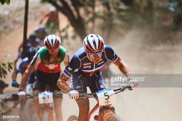 Julien Absalon of France competes in the Elite Mens Cross Country race during the 2017 Mountain Bike World Championships on September 9 2017 in...