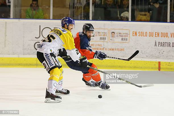 Julien Albert of Angers and Mark Matheson of Rouen during the Ice hockey Ligue Magnus Final second game between Les Ducs d'Angers v Les Dragons de...