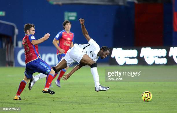 Julien Anziani of Gazelec and Yannick Mamilonne of Paris FC during the Ligue 2 match between Gazelec Ajaccio and Paris FC at Stade Ange Casanova on...