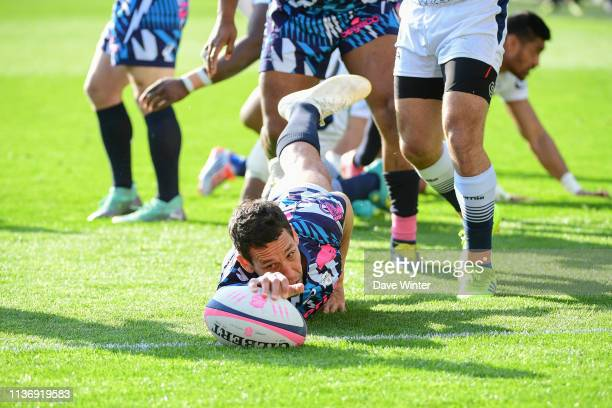 Julien Arias of Stade Francais Paris dives over for a try but it is refused during the Top 14 match between Stade Francais and Agen at Stade Jean...