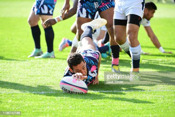 Julien Arias of Stade Francais Paris goes over for a try that is disallowed during the Top 14 match between Stade Francais and Agen at Stade Jean...