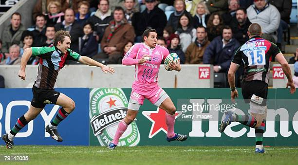 Julien Arias of Stade Francais runs with the ball during the Heineken Cup pool 3 match between Harlequins and Stade Francais at the Twickenham Stoop...