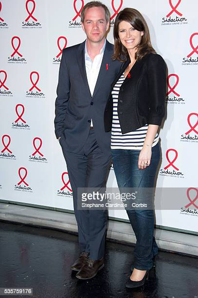 Julien Arnaud and Magali Lunel attend the Sidaction 2012 Press Conference at Musee du quai Branly in Paris