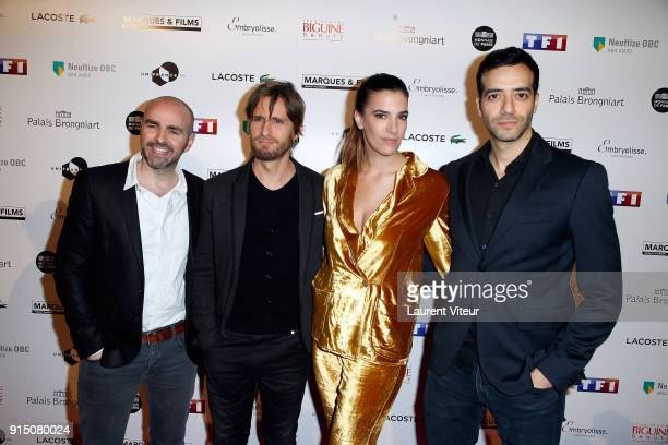 Julien Arruti Philippe Lacheau Charlotte Gabris and Tarek Boudali attend '25th Trophees du Film Francais' at Palais Brongniart on February 6 2018 in...