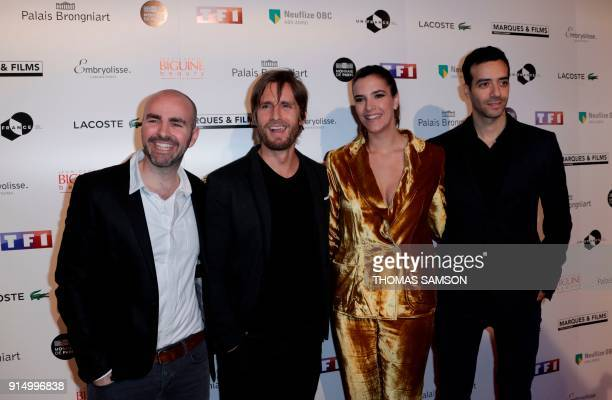 Julien Arruti Philippe Lacheau Élodie Fontan and Tarek Boudali cast of the French film 'Alibicom' pose as they arrive to attend the 25emes Trophees...