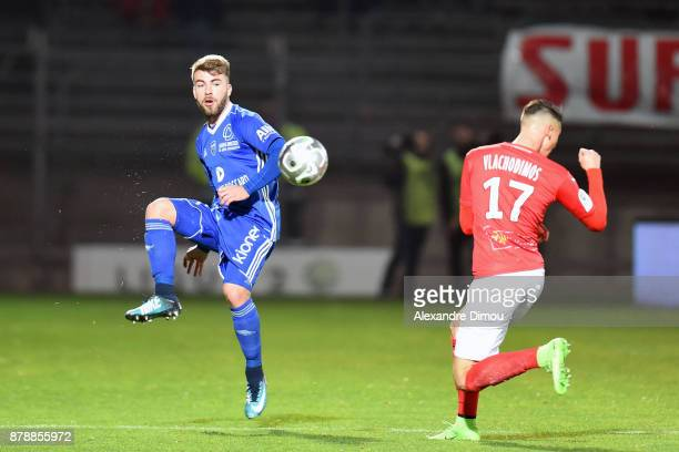 Julien Begue of Bourg en Bresse during the Ligue 2 match between Nimes and Bourg en Bresse at Stade des Costieres on November 24 2017 in Nimes France