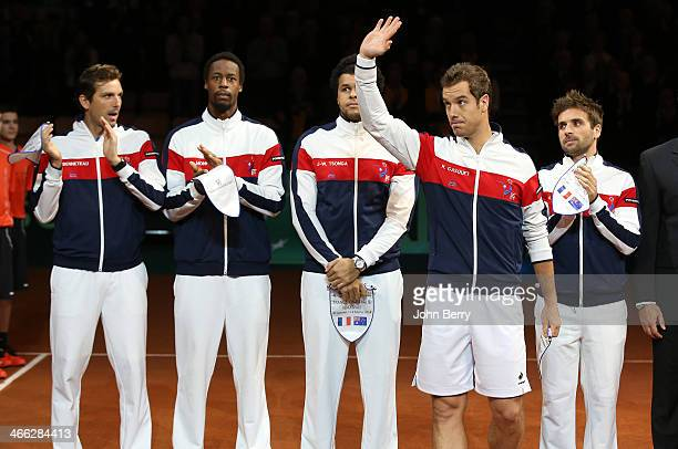 Julien Benneteau Gael Monfils JoWilfried Tsonga Richard Gasquet Arnaud Clement captain of France pose during the teams presentation prior to the 1st...