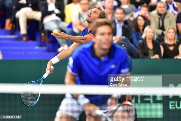 Julien Benneteau of France and Nicolas Mahut of France during Day 2 of the Davis Cup semi final on September 15 2018 in Lille France