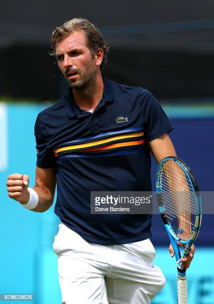 Julien Benneteau of France celebrates winning a point during his match against Tomas Berdych of The Czech Republic on Day Two of the FeverTree...