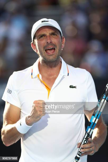 Julien Benneteau of France celebrates winning a point in his second round match against David Goffin of Belgium on day four of the 2018 Australian...